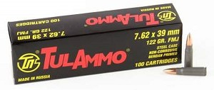 Tula 7.62x39mm 122gr FMJ 100 Rounds